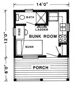 Tiny Camping House Plans | The Kenora II Cabin - Plans by TechArt ...