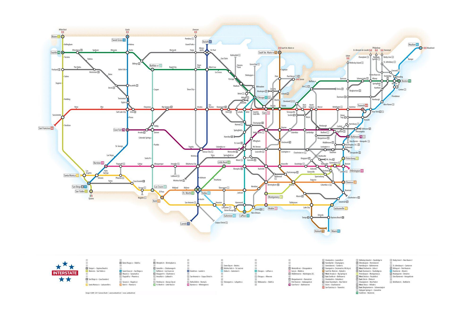 u s interstates as a subway map interesting pinterest