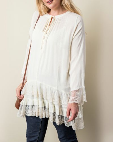 UMGEE Layered Ruffle Crochet Trim Top Plus Size XL 1X 2X USA Boutique