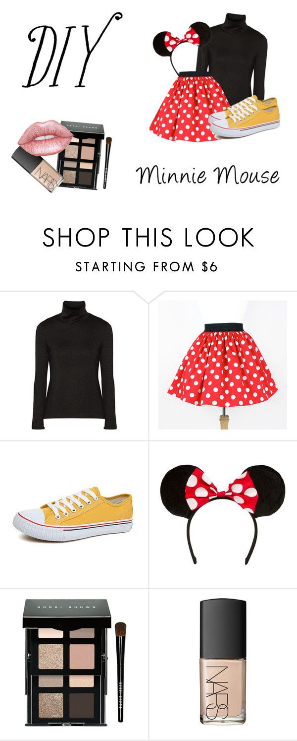 """""""DIY Minnie Mouse Costume"""" by fashionforwardme ❤ liked on Polyvore featuring Y-3, Bobbi Brown Cosmetics, NARS Cosmetics, Lime Crime, halloweencostume and DIYHalloween"""