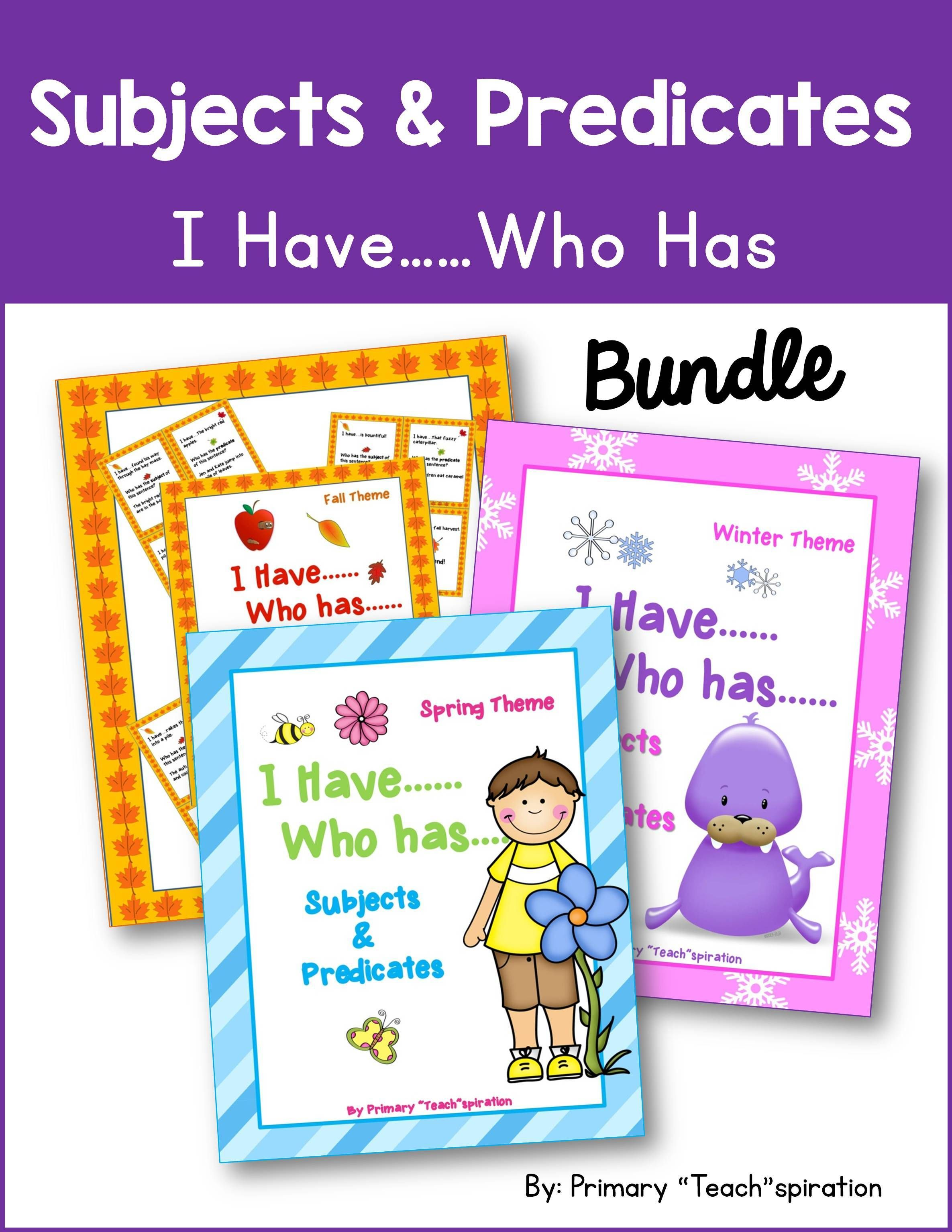 Subjects And Predicates I Have Who Has Bundle