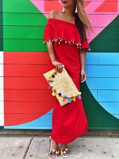 50b3cd3eff8 Red Pom Pom Maxi Dress Vacation Dresses