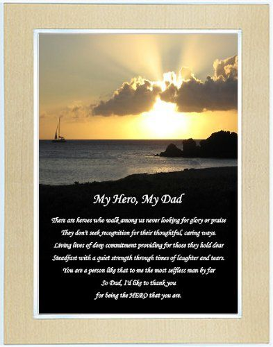 My Hero My Dad Fathers Day Gift Touching Poem In Gold Metallic