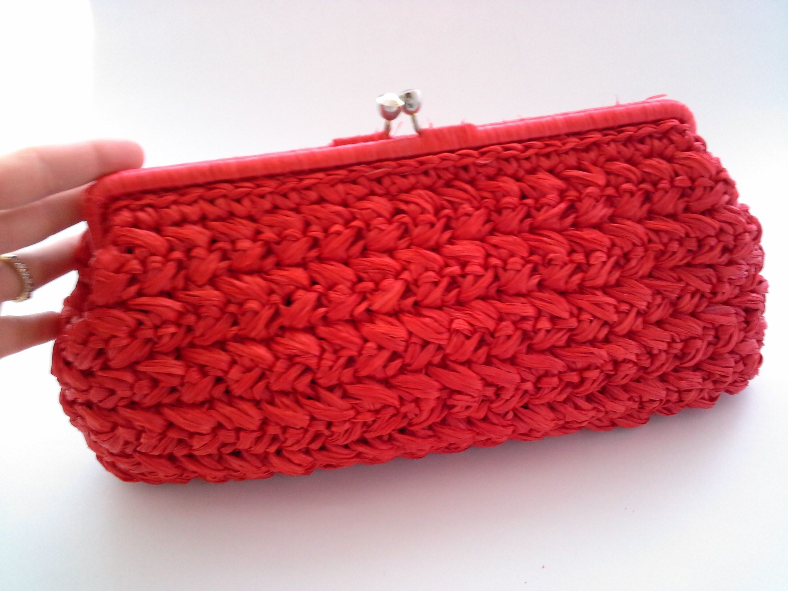 734be875a86 Red Straw Clutch, Vintage Red Clutch, Made in Japan Clutch, Japan ...