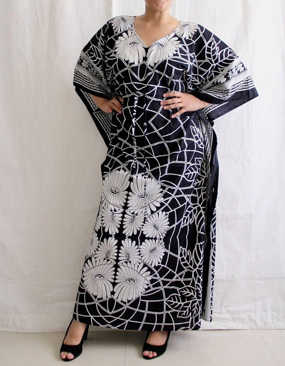 Women/'s Indian Round Neck Floral Print Allover Long Caftan Dress