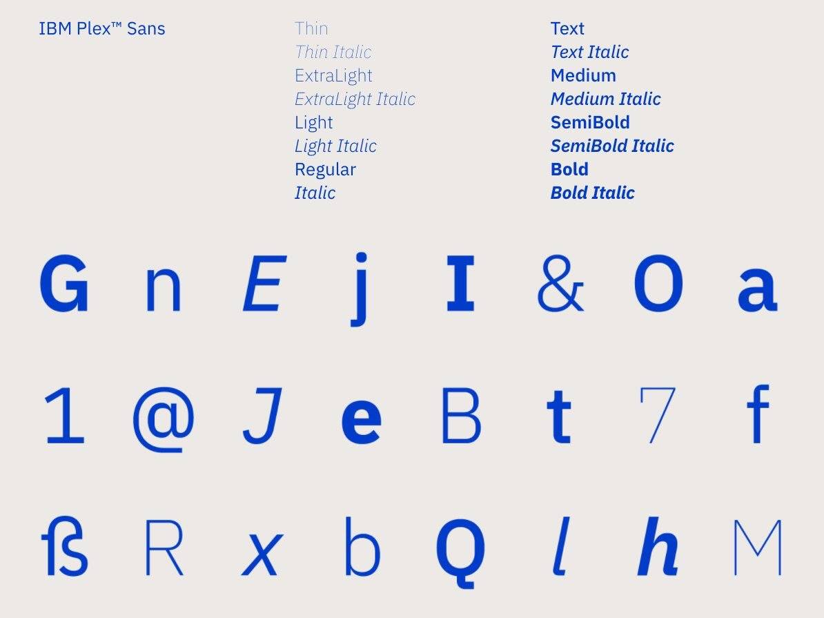 The company's first typeface, called IBM Plex, is free for