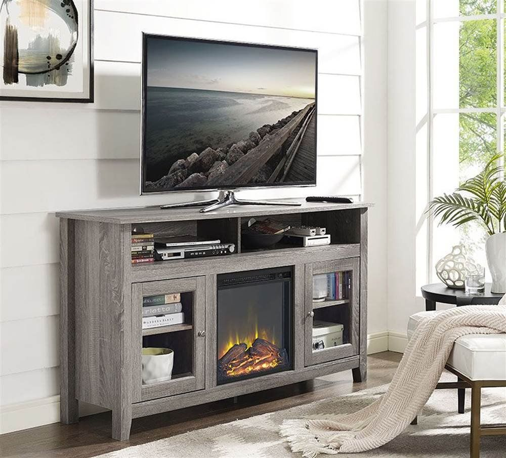 Amazon in wooden highboy fireplace tv stand in driftwood