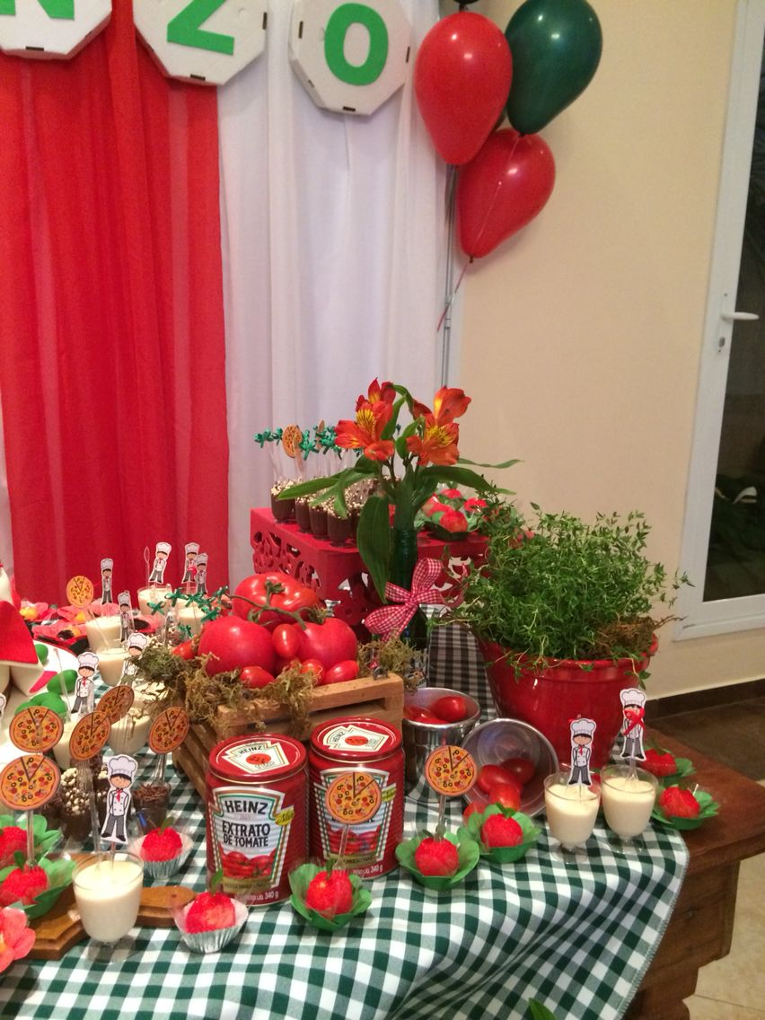 Adult birthday table decorations - Festa Da Pizza