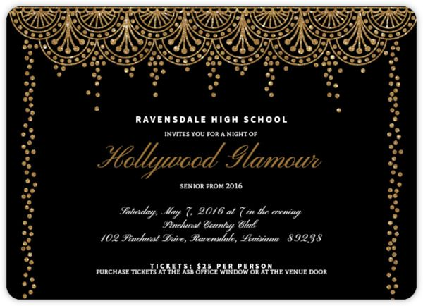 Old Hollywood Glam Prom Invitation Prom Invitations Pinterest - prom tickets design