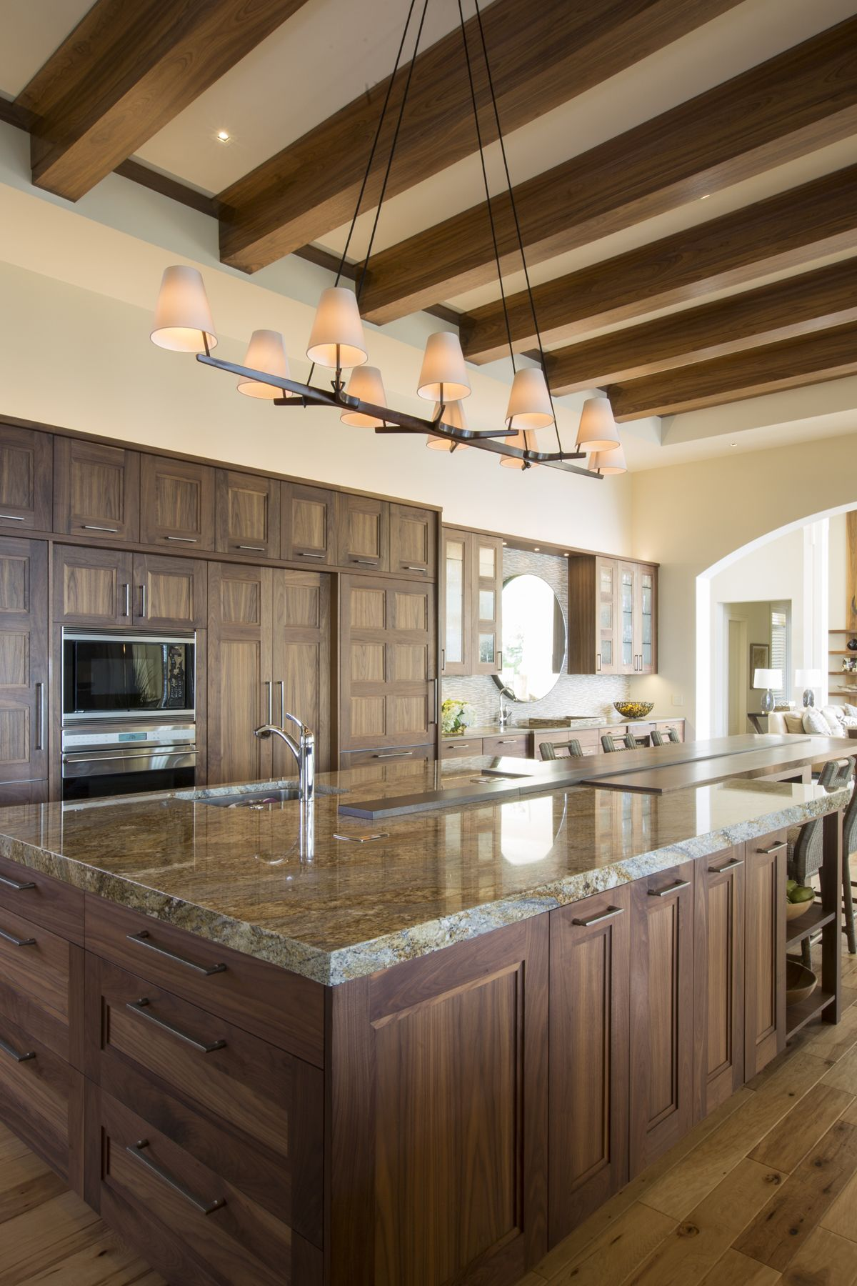 Transitional Kitchen Features High Ceilings With Exposed Beams Fully Custom Natural Walnut Transitional Kitchen Design Kitchen Design Cheap Kitchen Cabinets