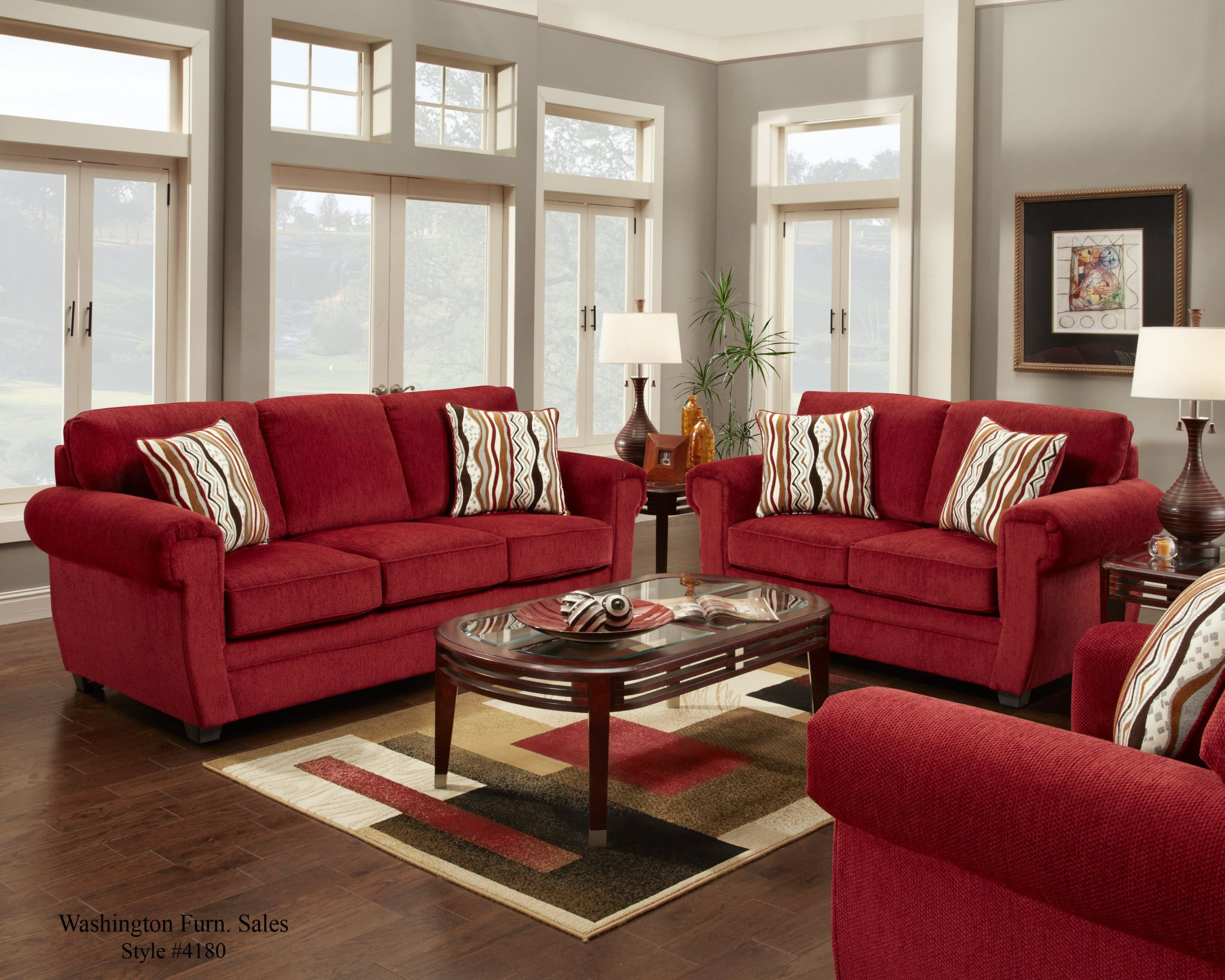 4180 washington samson red sofa and loveseat www for Living room ideas with 3 sofas