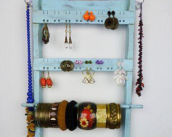 Light blue aqua jewelry organizer display by CraftersCalendar
