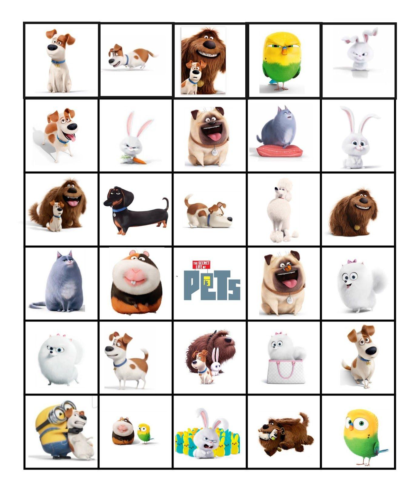 Secret Life Of Pets Bingo