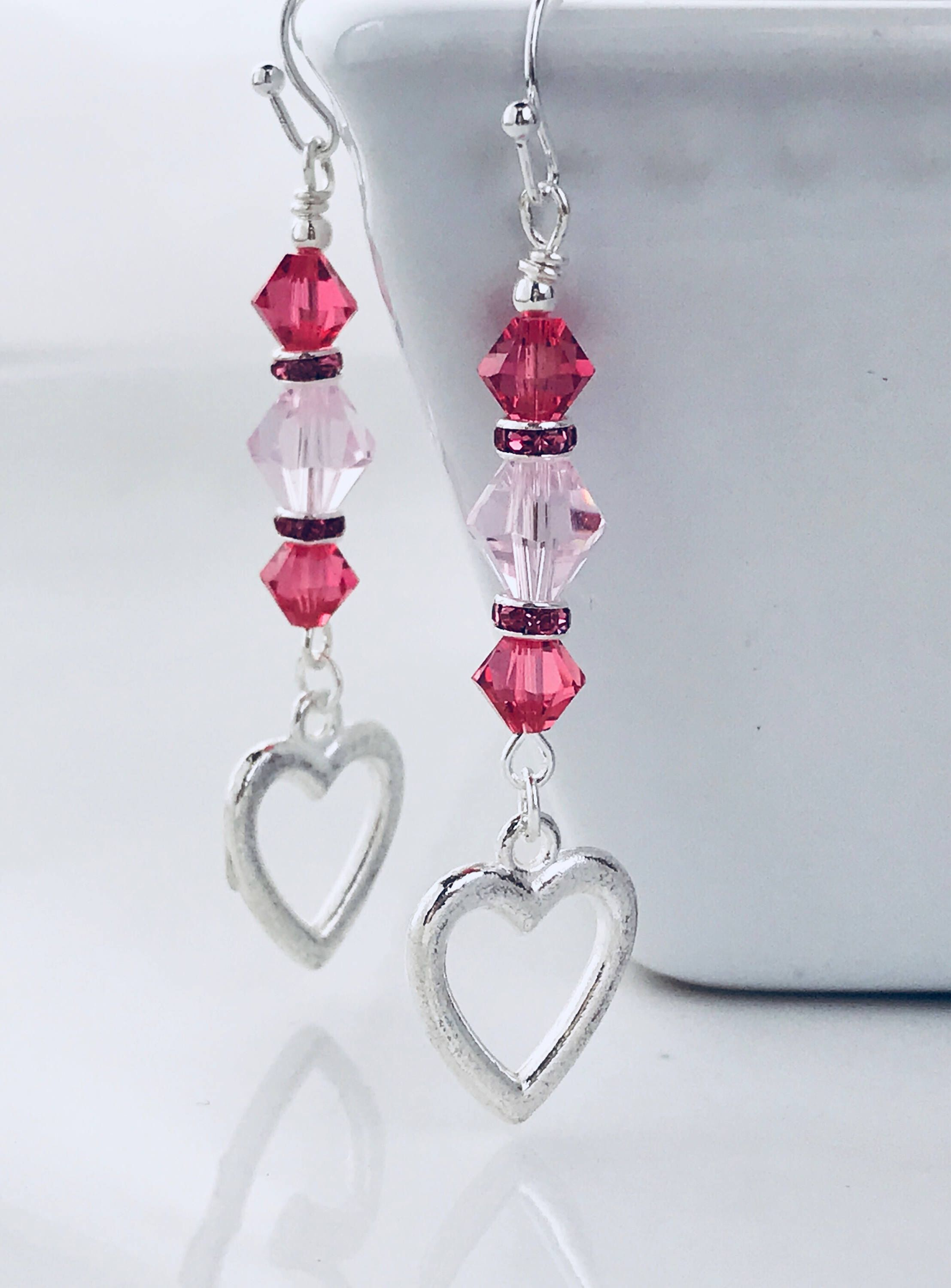 Swarovski Crystal Earrings Heart Valentines Gift For Her Pinterest Jewelry And Making