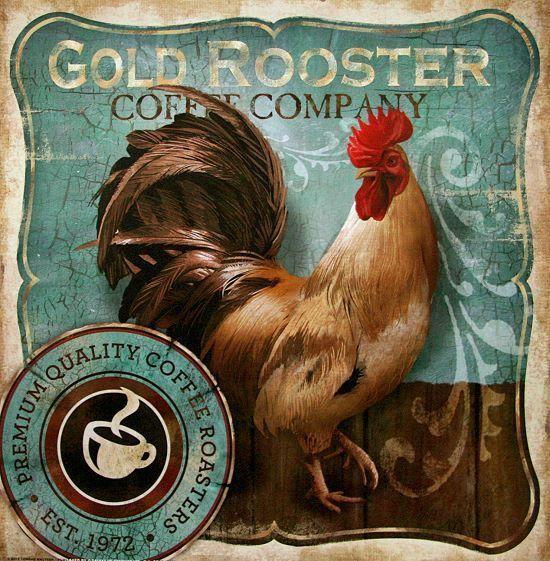 Conrad Knutsen Gold Rooster Fertig-Bild 30x30 Wandbild Cafe Küche - küche bei ebay