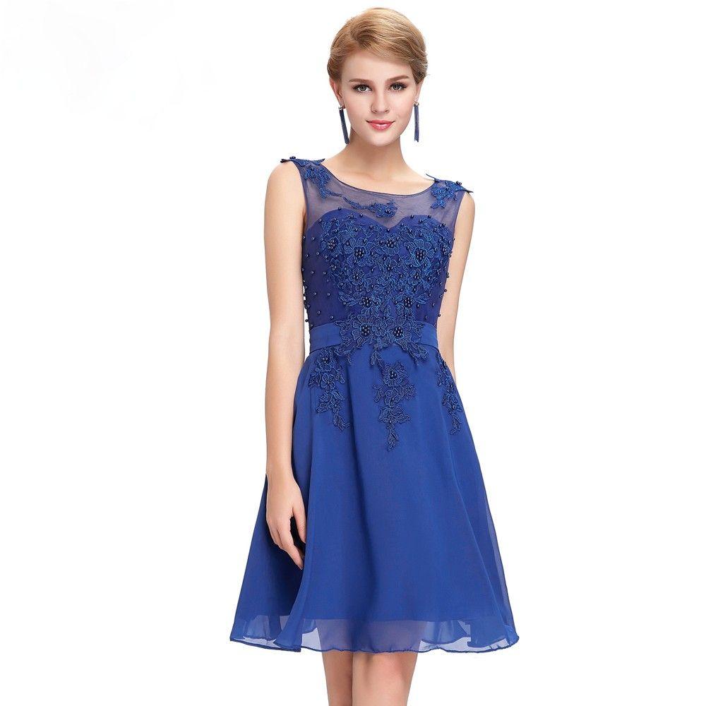 Blumenstick Cocktailkleid in Blau | Blaue Kleider online kaufen ...