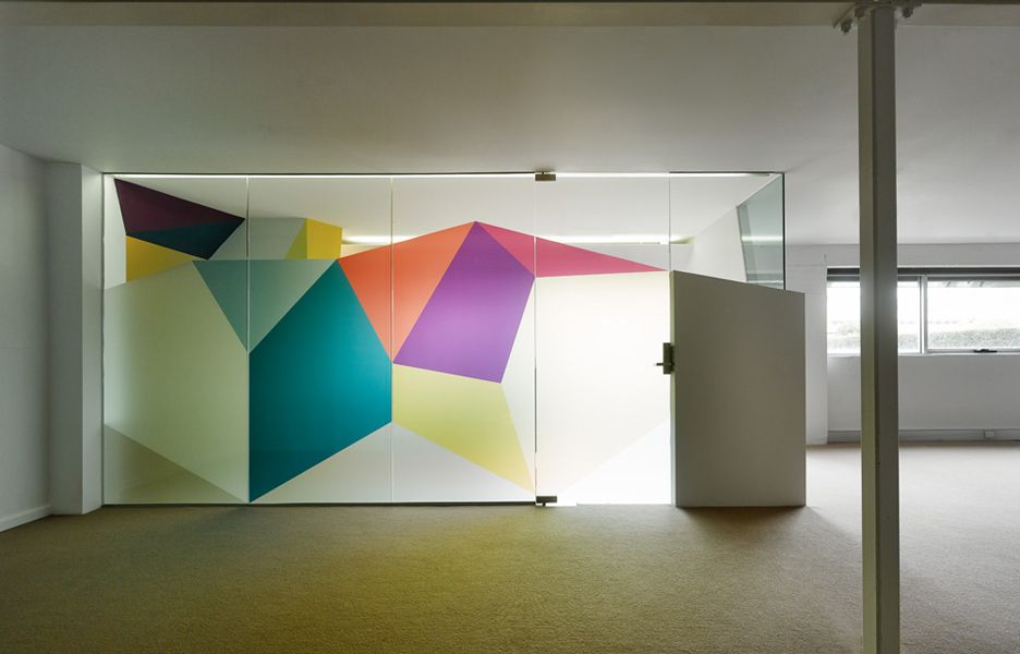 Pop of colour maybe on big wall in open plan area for Window design group