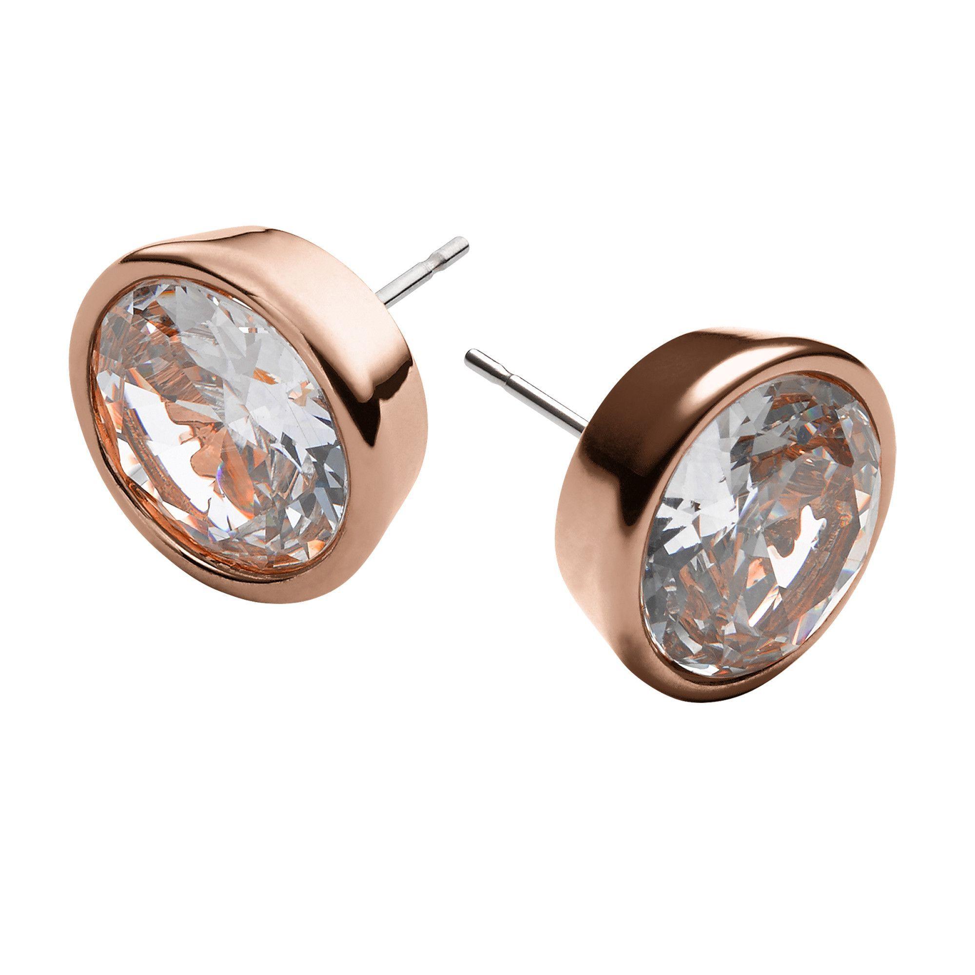 Clear Rose Gold Tone Stud Earrings