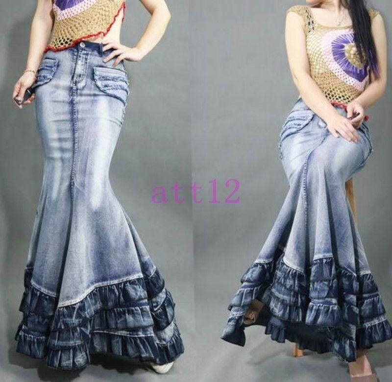 8428342559c Womens Maxi Jeans Retro Denim Casual Ultra Long Skirts Fishtail Gown Dress
