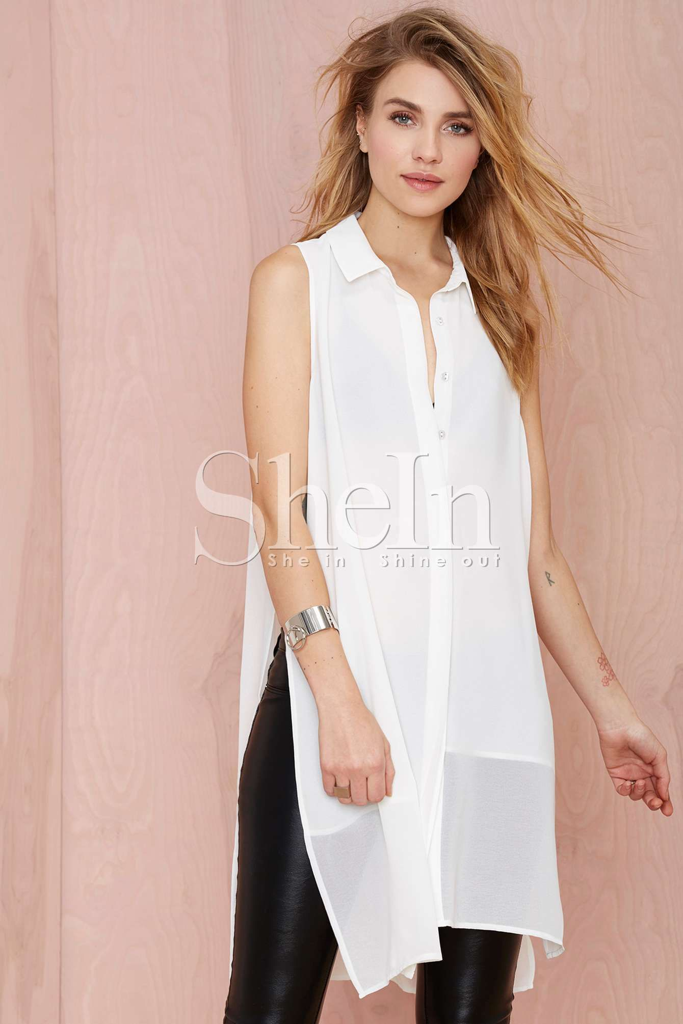 Blusa gasa sin mangas-blanco 12.87   Blusas   Pinterest   Gasa ...