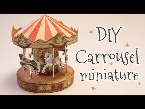Miniature dollhouse Carousel papercraft (step by step tutorial) - YouTube #dollhouseminiaturetutorials