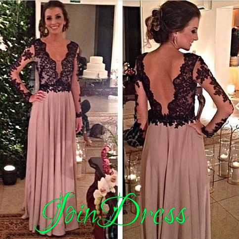Prom Dress,V-Neck Prom Dress,A-Line Prom Dress,Long Sleeve Prom Dress,Chiffon Prom Dress,Backless Prom Dress