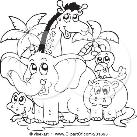 Royalty Free Rf Clipart Illustration Of A Coloring Page Outline Of African Animals By Vis Zoo Animal Coloring Pages Animal Coloring Pages Cartoon Zoo Animals