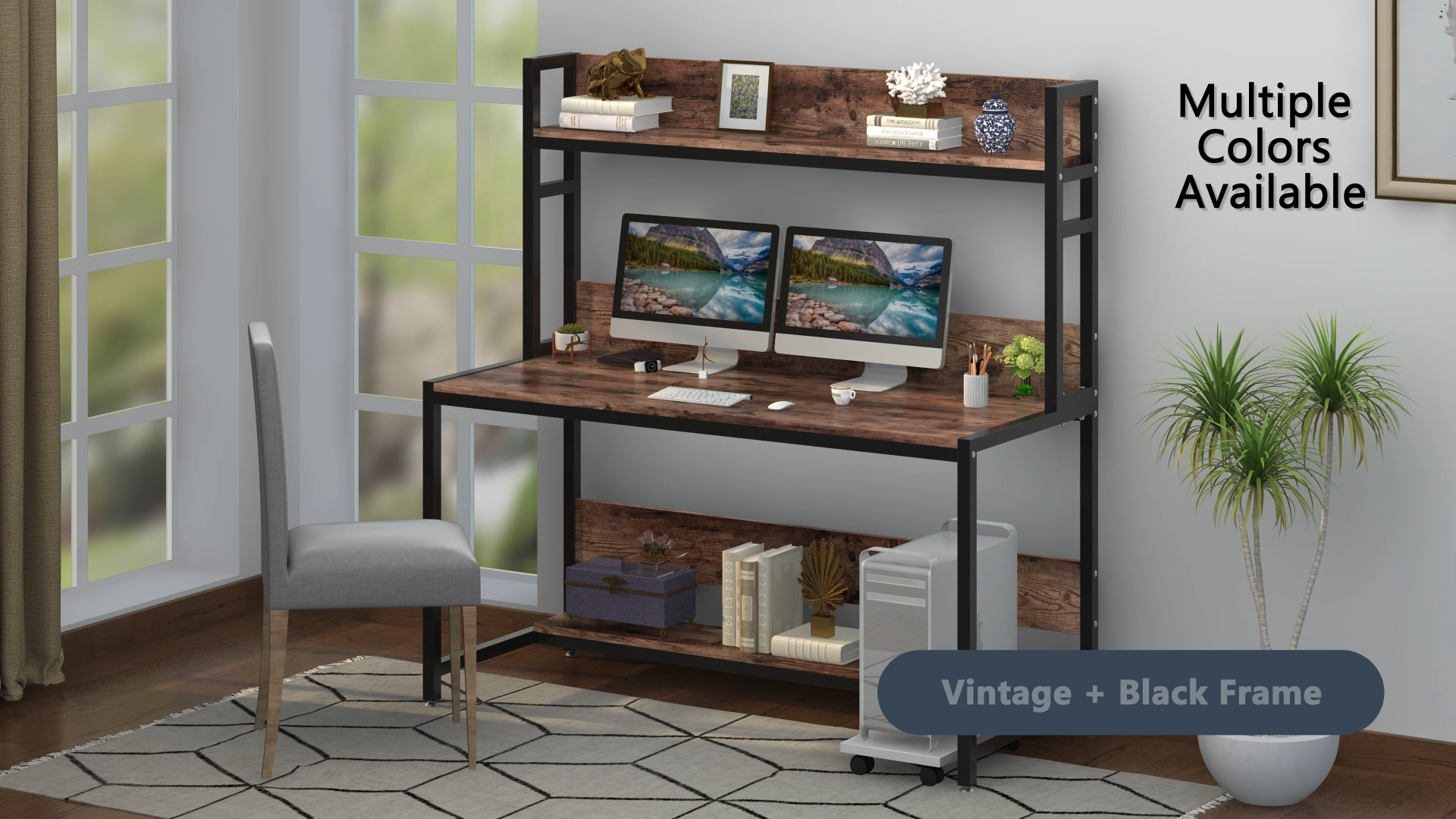 Large Computer Desk, Modern Writing Desk w/Bookshe