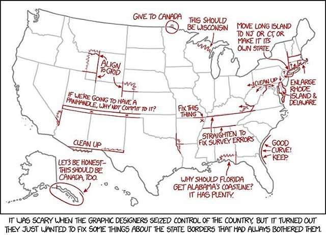 Fixing the United States borders, by xkcd ➖ u201cIt was scary when the - new world map blank with countries border