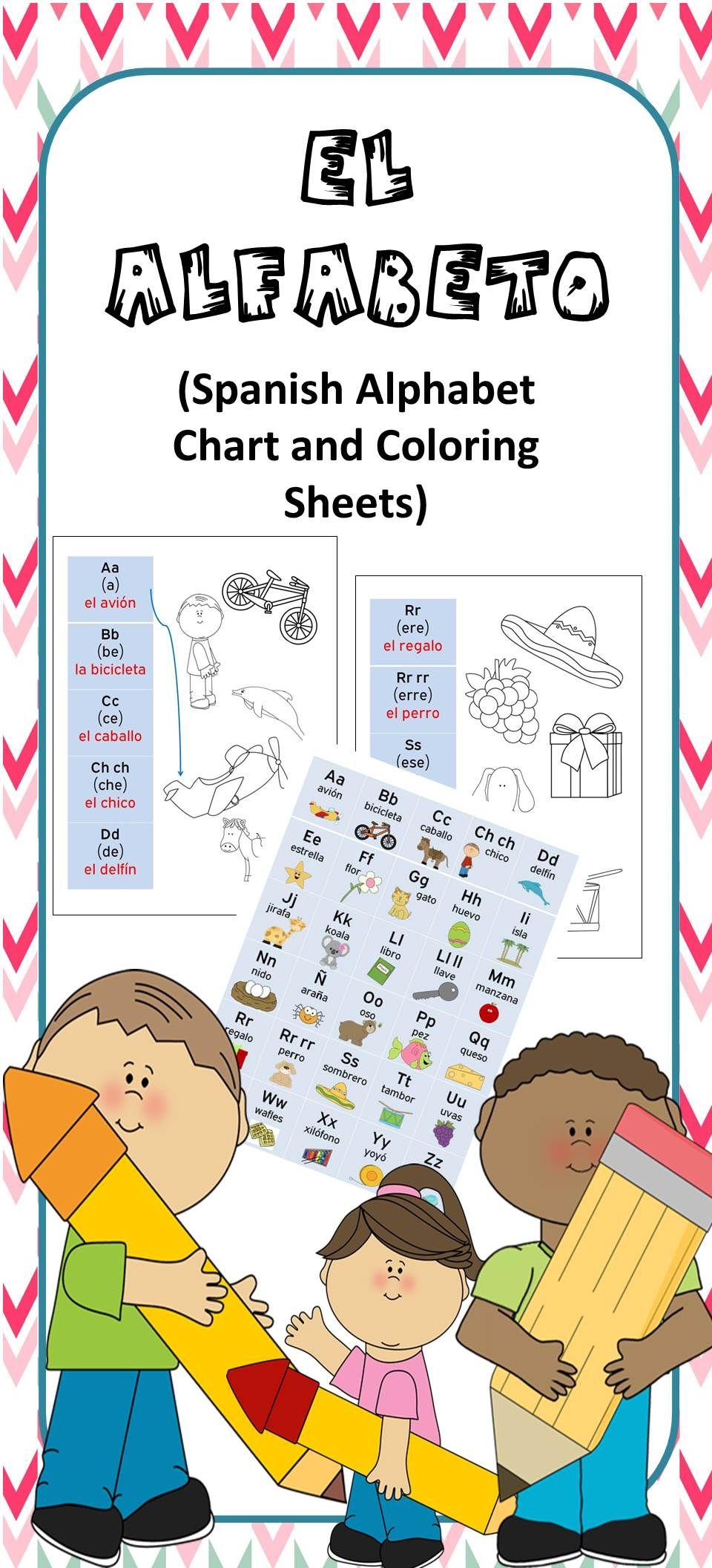 El Alfabeto Spanish Alphabet Chart And Coloring Sheets Spanish Alphabet Chart Spanish Teacher Resources Spanish Alphabet [ 2112 x 960 Pixel ]