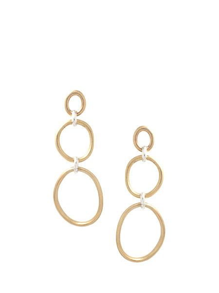 af8924891 Cory Trois Earring / Brass Organically shaped brass rings, hinged with sterling  silver rings for