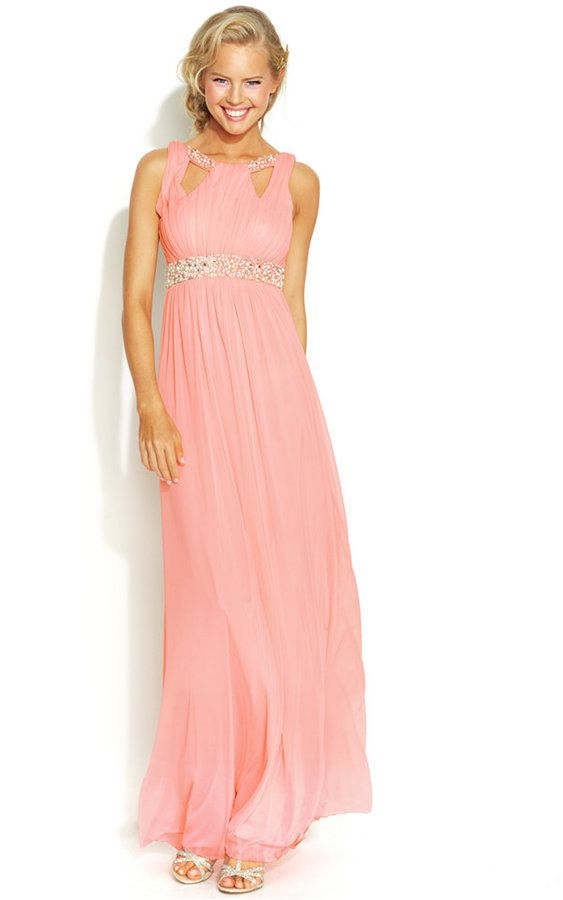 Hailey logan dress one shoulder beaded maxi gown