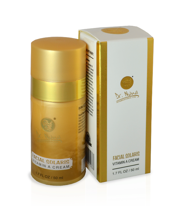 Facial Solaris Vitamin A Cream-- Vitamin A enhanced, UV protective all-day cream that absorbs quickly to help repair and prevent lines and wrinkles.