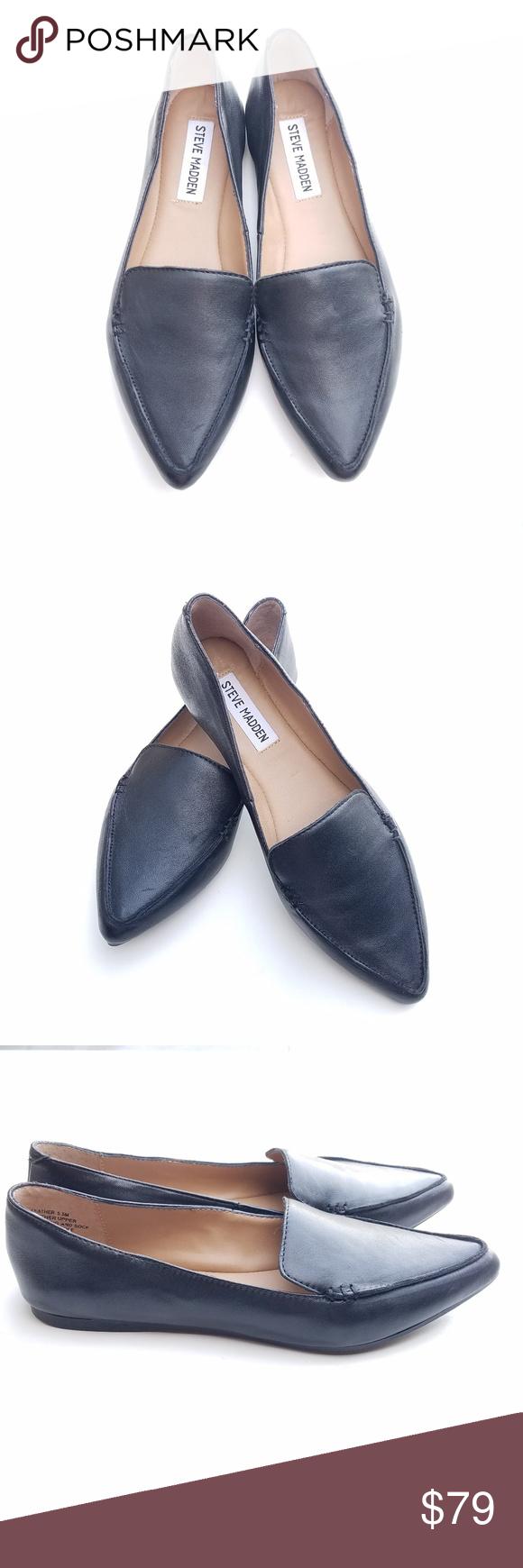 Steve Madden Black Leather Loafers Size