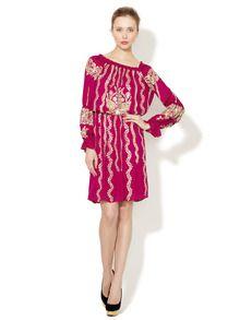 Silk Off the Shoulder Embellished Dress by Naeem Khan at Gilt