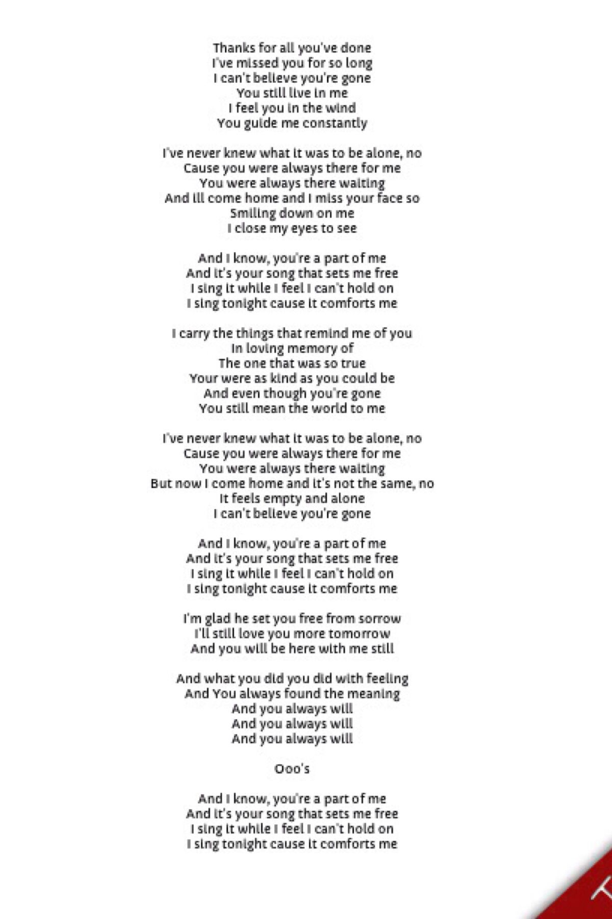Deepest song i have ever heard To all our loved ones who we have loved