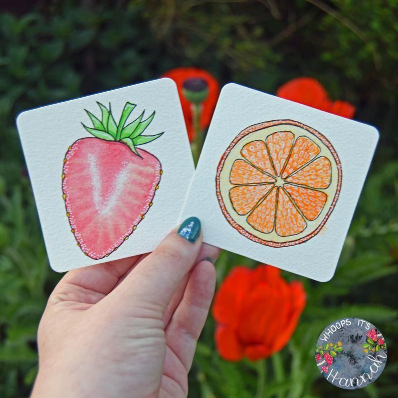 Watercolour Summer Fruits Printable kiwi strawberry Etsy