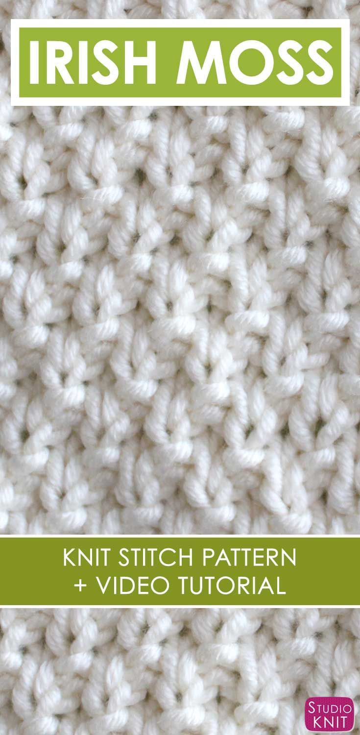 How to Knit the IRISH MOSS Stitch Pattern with | Irish moss, Knit ...