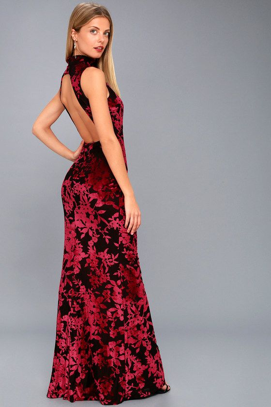 DARIANA BLACK AND RED VELVET FLORAL PRINT BACKLESS MAXI DRESS ...