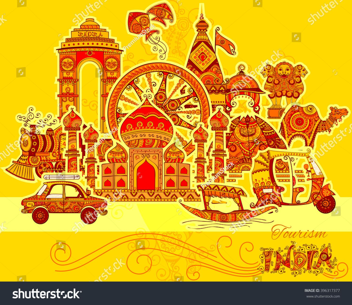 Art From India Indian Culture: Vector Design Of Monument And Culture Of India In Indian