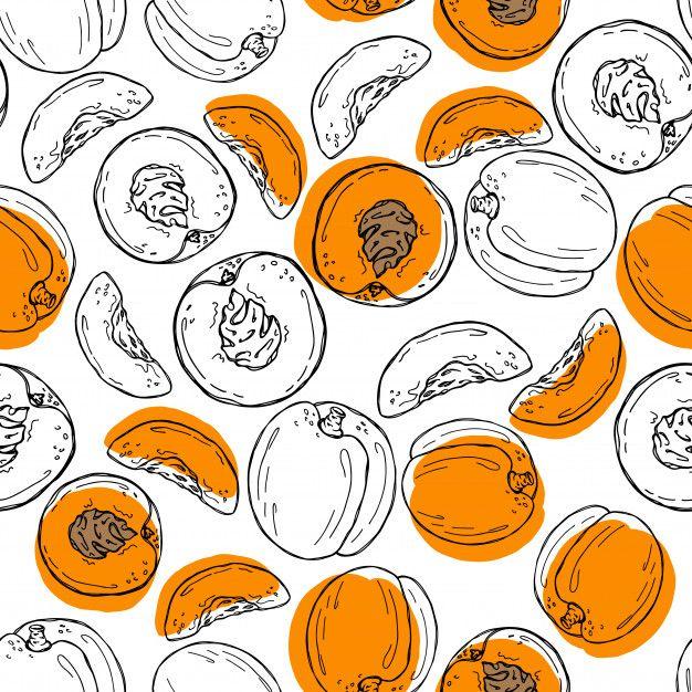 Apricot Hand Drawn Seamless Pattern.