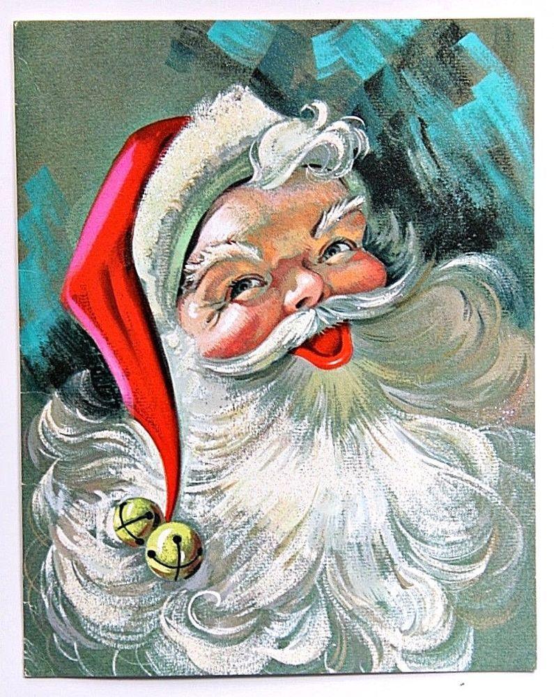 Santa Claus Glitter Beard Christmas & New Year Greeting Card ...