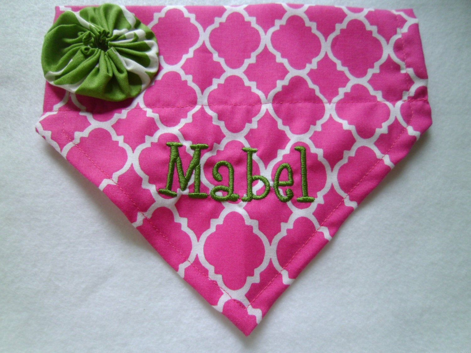 Photo of Personalized Dog Bandana, Pink, Slides Over the Collar, Dog lovers gift, new puppy, photo shoot, dog presen