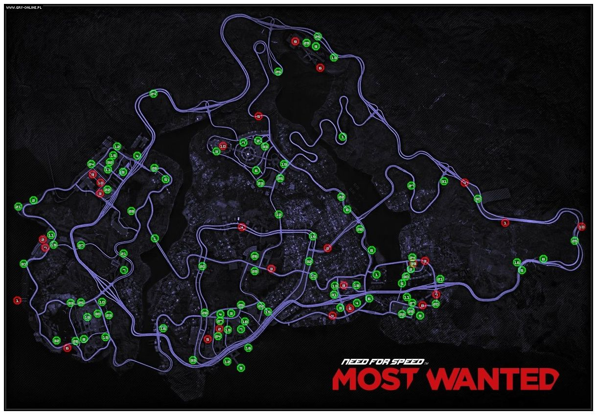 Map Of Cars Need For Speed Most Wanted