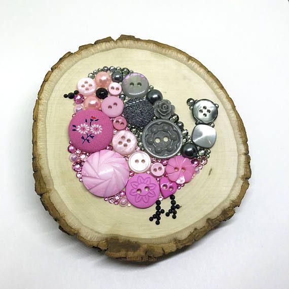 Rustic Baby Bird Button Art  Rustic Wooden Decor  Small Bird
