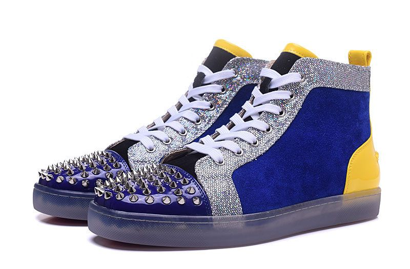 8ea0b059de7 Christian Louboutin Louis Junior Spikes Yellow Blue Suede Silver Spike High  Sneakers