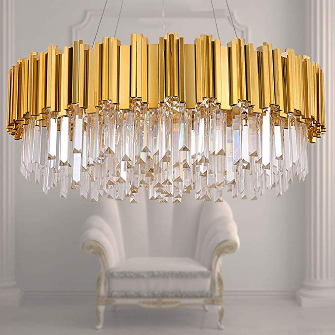 Meelighting Raindrop Gold Plated Modern Crystal Chandelier Lights Luxury Pendant Ceiling Light Contemporary Chandeliers Lighting Crystal Chandelier Lighting Ceiling Lights Chandelier Lighting