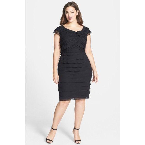 London Times Rosette Detail Shutter Pleat Dress (Plus Size) Black
