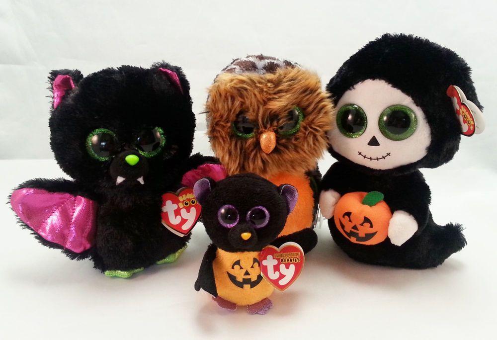 489b070ffb4 Halloween Plush Toys Beanie Boos Babies Bat Owl Grim Reaper Pumpkin Set of  4  Halloween  pumpkin  owl