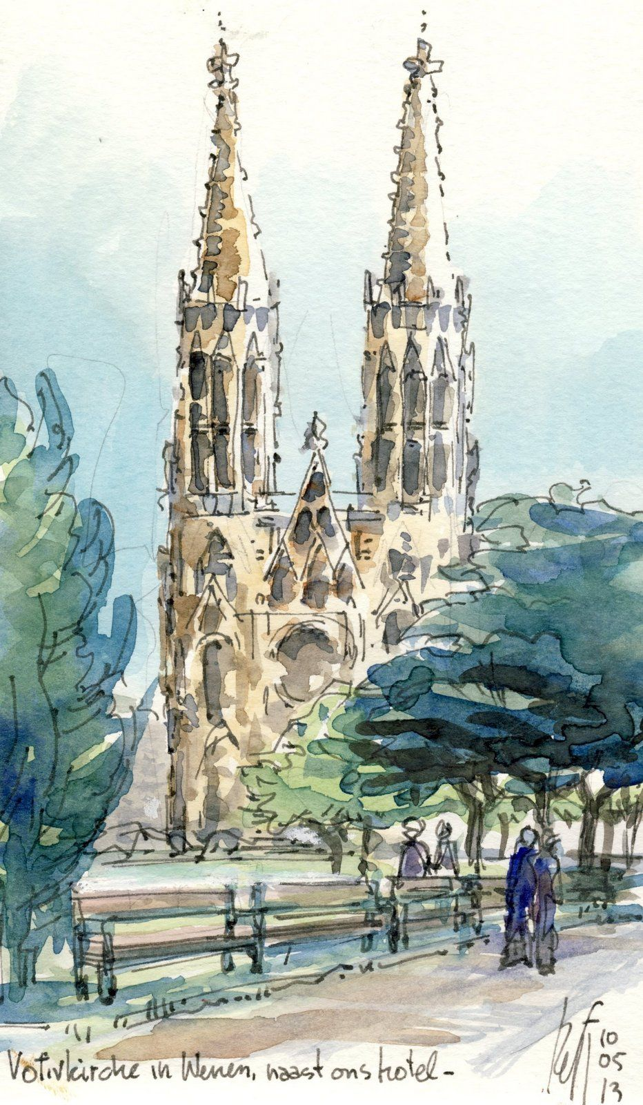 Our hotel was next to this church, a 19th century gothic style church. I drew…